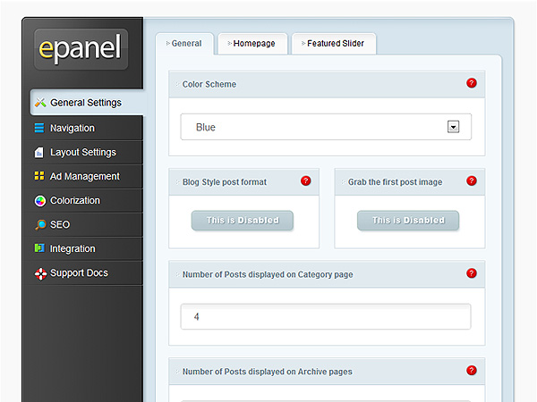 ePanel WordPress Options Panel from Elegant Themes